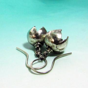 Small Argentium Bell Flower Earrings - 2