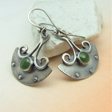 Urban Tribal Argentium Sterling Silver And Nephrite Jade Earrings
