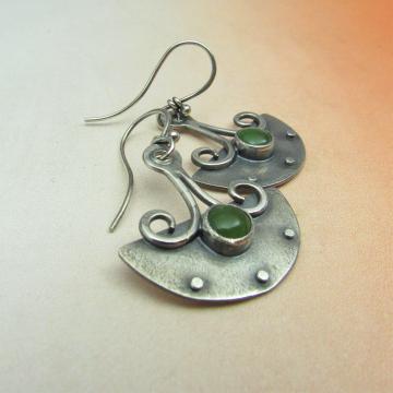 Urban Tribal Argentium Sterling Silver And Nephrite Jade Earrings