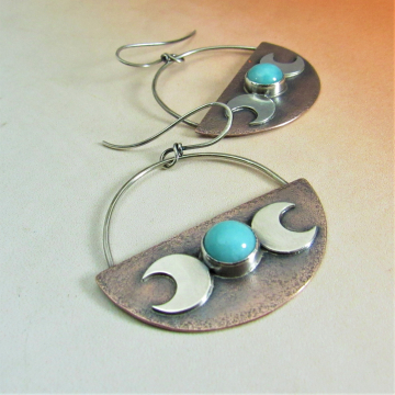 Triple Goddess Earrings With Amazonite