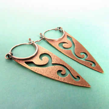 Bronze And Sterling Silver Pixie Spear Earrings - 1