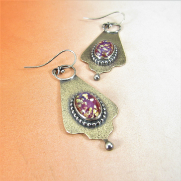 Exotic Bronze, Sterling Silver And Vintage Pink Glass Cabochon Earrings