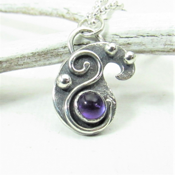 Petite Amethyst And Sterling Silver Paisley Necklace