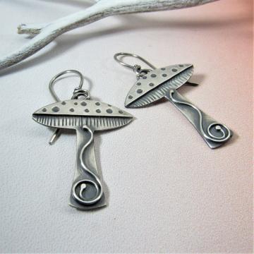 Handcrafted Sterling Silver Mushroom Earrings