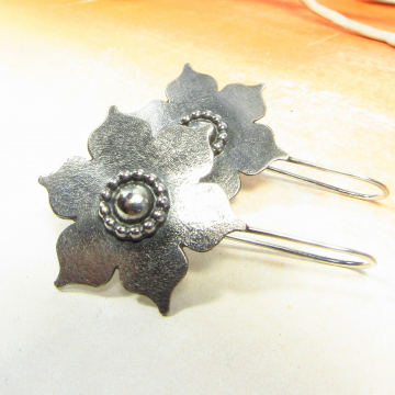 Large Sterling Silver Lotus Earrings, Handmade Bohemian Argentium Jewelry - 1