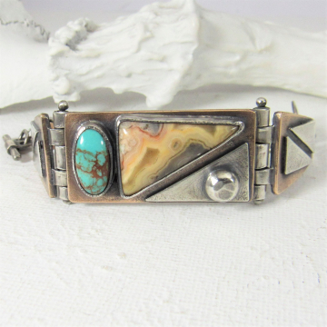 Hinged Mixed Metal And Stone Bracelet