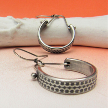 Patterned Sterling Silver Dangle Hoop Earrings