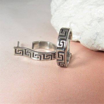 Sterling Silver Greek Key Post Back Hoop Earrings