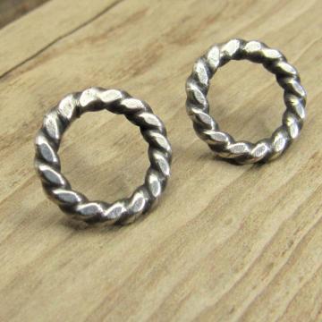 Twisted Circle Stud Earrings, Sterling Silver Push Back Post Earrings