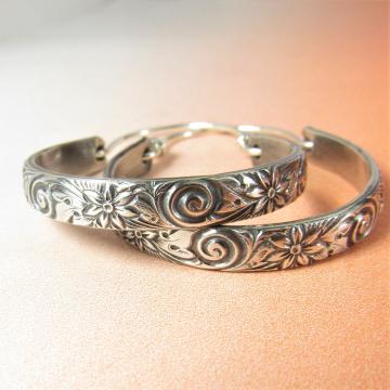 Large Sterling Silver Floral Pattern Hoop Earrings