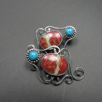 Red Jasper And Turquoise Earrings - Image 2