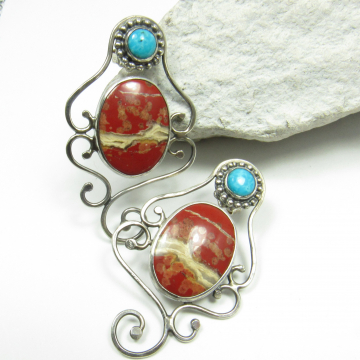 Red Jasper And Turquoise Earrings - Image 1