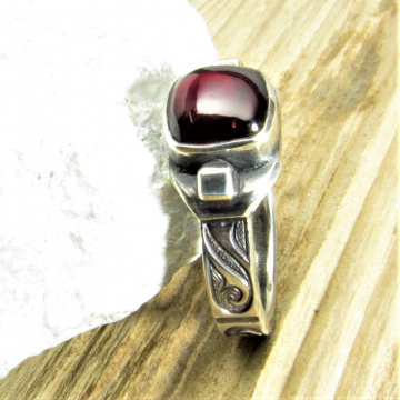 Unisex Argentium Sterling Silver And Cushion Cut Garnet Ring