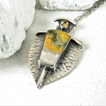 Argentium Sterling Silver, Citrine And Bumble Bee Jasper Pendant Necklace
