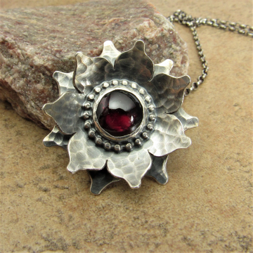 Red Lotus Necklace, Argentium Sterling Silver And Garnet Flower Pendant