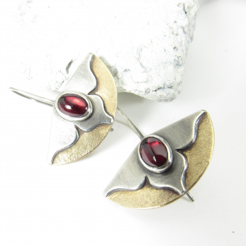 Garnet Earrings, Bronze And Sterling Silver Mixed Metal Lotus Flower Earrings