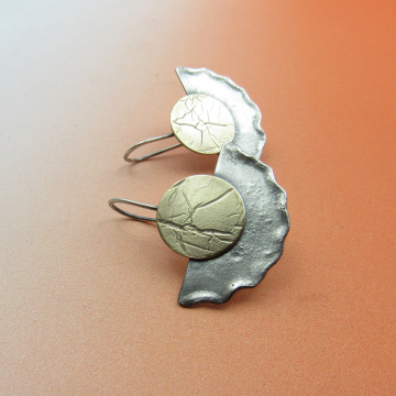 Bronze And Sterling Silver Disk And Fan Earrings by Mocahete