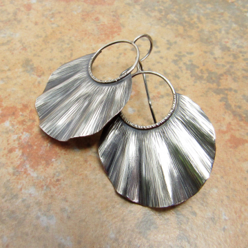 Large Ruffled Sterling Silver Statement Earrings - image 2