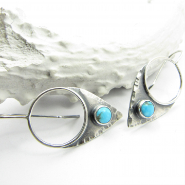 Argentium Sterling Silver Turquoise Shield Earrings By Mocahete - image 1