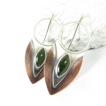Sterling Silver, Copper And Jade Earrings