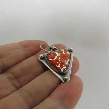 Argentium Sterling Silver Earrings With Vintage Japanese Sparkly Orange Glass Ca