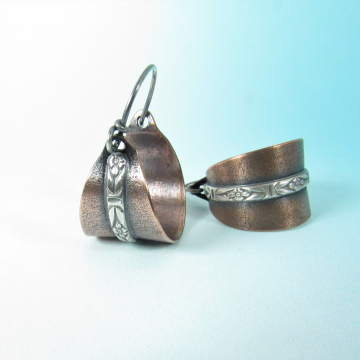 Sterling Silver And Copper Basket Earrings
