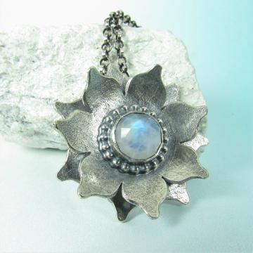 Argentium Sterling Silver And Rainbow Moonstone Lotus Necklace
