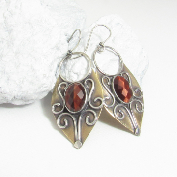 Exotic Bronze And Argentium Sterling Silver Earrings With Faceted Red Tigers Eye