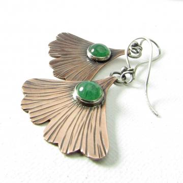 Copper And Green Adventurine Ginkgo Leaf Earrings
