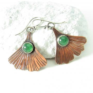 Copper And Green Adventurine Ginkgo Leaf Earrings