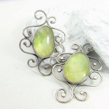 One Of A Kind Prehnite And Sterling Silver Earrings