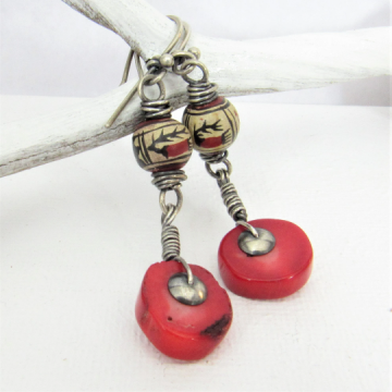 Red Coral And Peruvian Bead Earrings