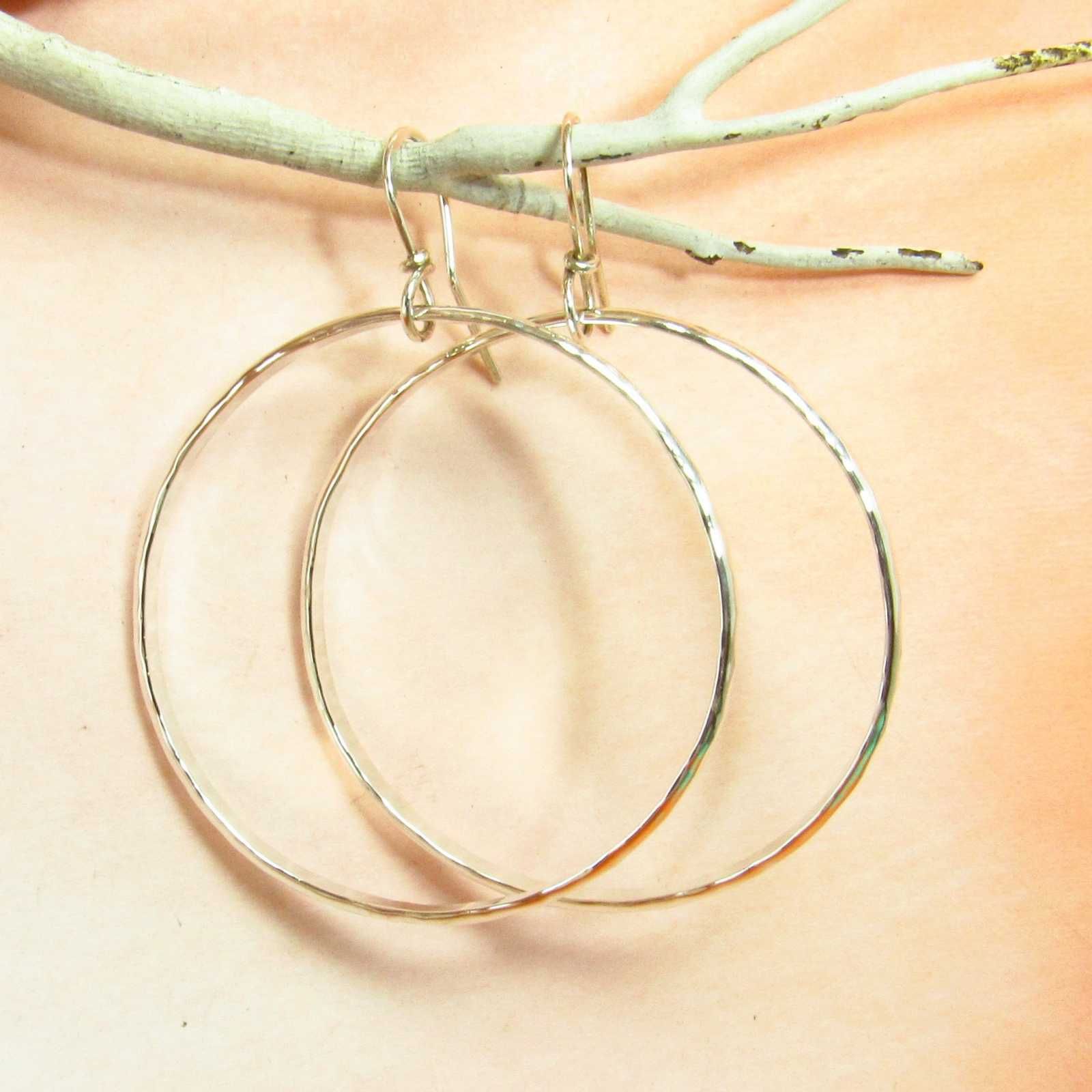 Large Hammered Argentium Sterling Silver Circle Hoop Earrings