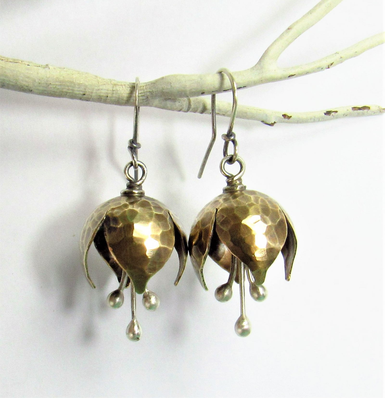 3e1fb9211 ... Mixed Metal, Nugold And Sterling Silver Tinkling Bell Flower Earrings -  Image 4 ...