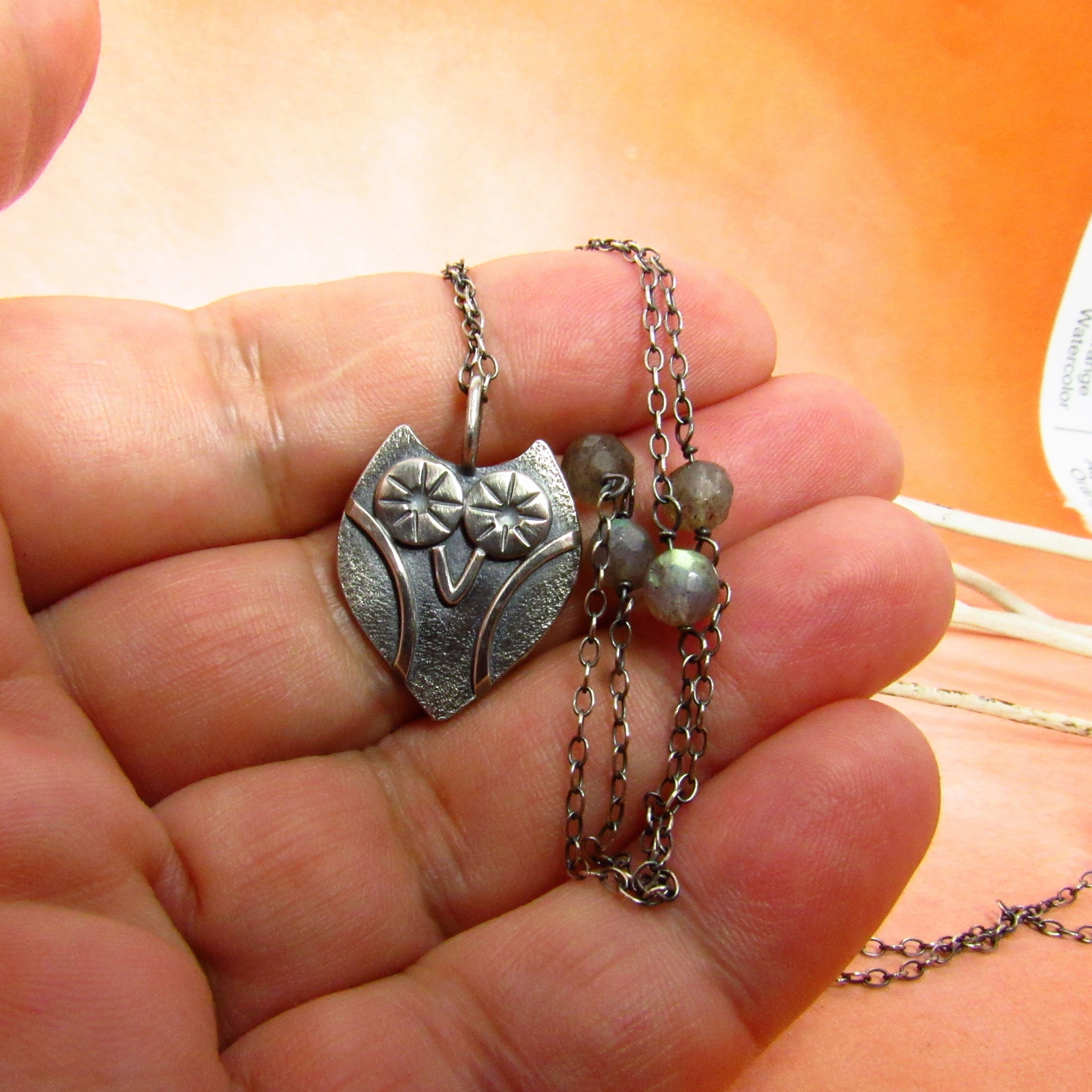 338fd4f5c20cf7 Perky Little Sterling Silver Owl Pendant Necklace With Labradorite