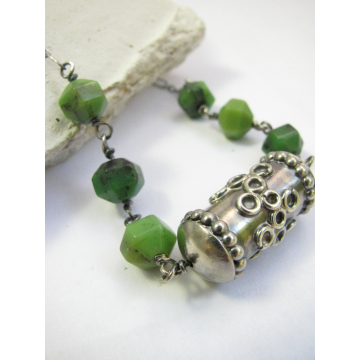 Chrysoprase Necklace With A One Of A Kind Handmade Sterling Silver Focal Bead, Green Gemstone Necklace, Chrysoprase Jewelry