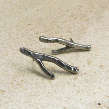 Argentium Sterling Silver Coral Twig Earrings With Post Back, Artisan Jewelry From Mocahete