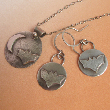 Sterling Silver Bat Earrings And Necklace Set, Fall, Halloween Jewelry