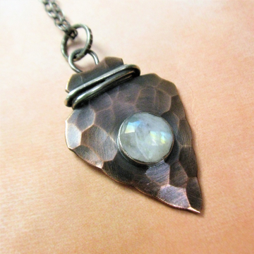 Rustic Copper, Sterling Silver And Rainbow Moonstone Arrowhead Pendant Necklace, Mixed Metal Jewelry By Mocahete