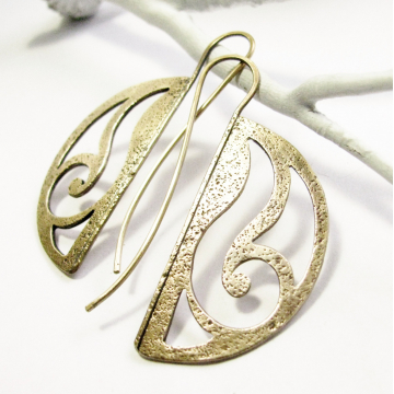 Solid Bronze Art Nouveau Earrings, Contemporary Metalsmith Jewelry By Mocahete