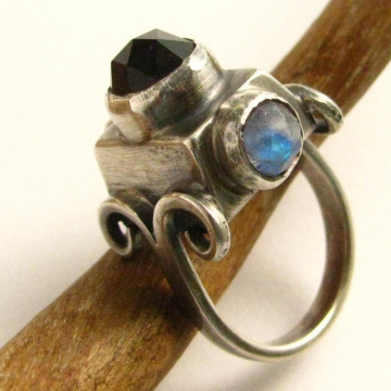 Statement Ring With Amethyst And Moonstone in Sterling Silver, Size 7 One Of A Kind