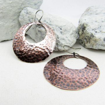 Classic Hammered Copper Gypsy Hoop Earrings With Sterling Silver Ear Wires, Boho Jewelry