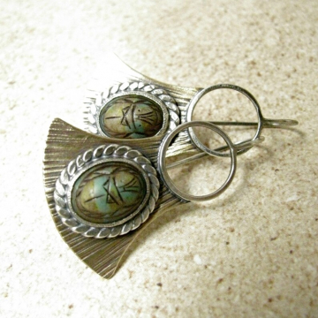 Mixed Metal Scarab Earrings, Bronze And Sterling Silver Vintage Cabochon Egyptian Earrings