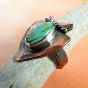 Size 8 Turquoise Arrowhead Ring In Copper, Fine and Sterling Silver, Southwest Design, Rustic, Unisex