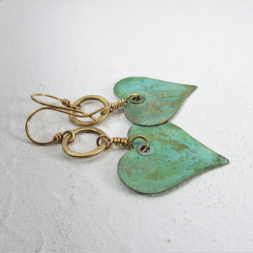Queen Of Heart Earrings - Verdigris Large Brass Earrings, Funky, Soulful Metalsmith Boho Jewelry That Makes A Statement