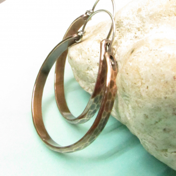 Large Hammered Copper Hoop Earrings With Sterling Silver Ear Wires, Two Tone, Mixed Metal Earrings