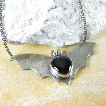 Argentium Sterling Silver Bat Pendant Necklace With Black Onyx, Jewlery For Fall Celebrations