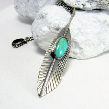 Sterling Silver Feather Necklace With Kingman Turquoise, Handcrafted Artisan Jewelry, Turquoise Pendant