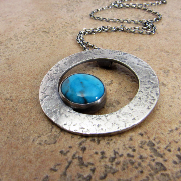 Modern Argentium Sterling Silver And Kingman Turquoise Necklace, Artisan Metalsmith Jewelry