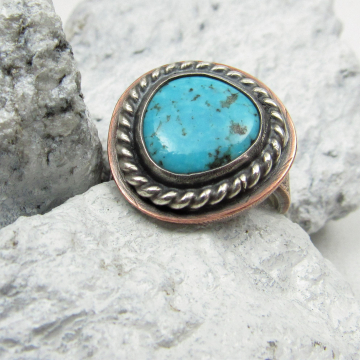 Mixed Metal Turquoise Ring One Of A KInd Sterling Silver And Copper Unisex Size 9 Ring